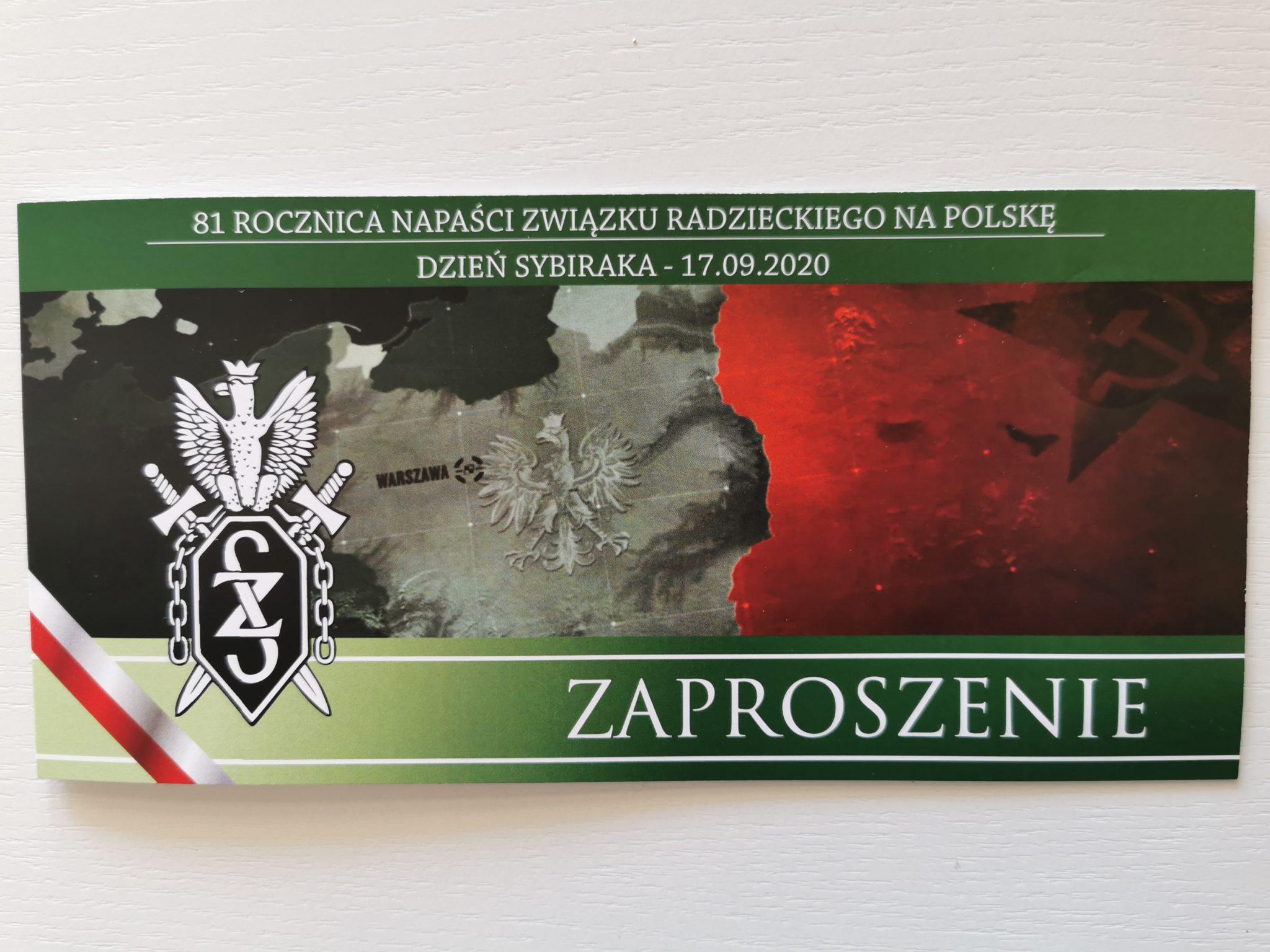Zaproszenie na uroczystości od wrocławskich Sybiraków